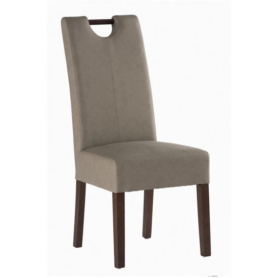 Kensington Leather Dining Chair In Mocha With Dark Leg