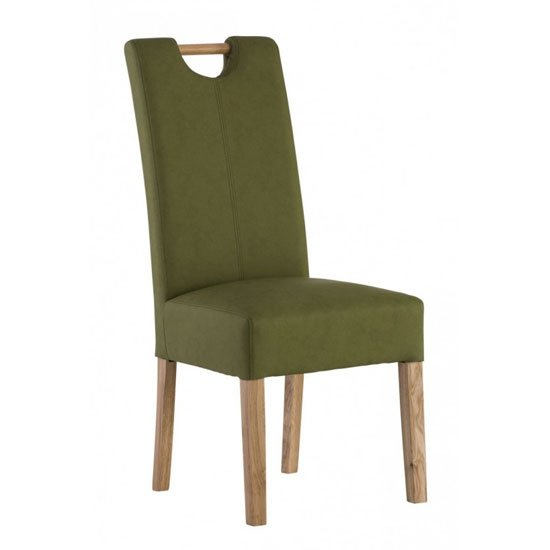 Kensington Leather Dining Chair In Sage Green With Oak Leg