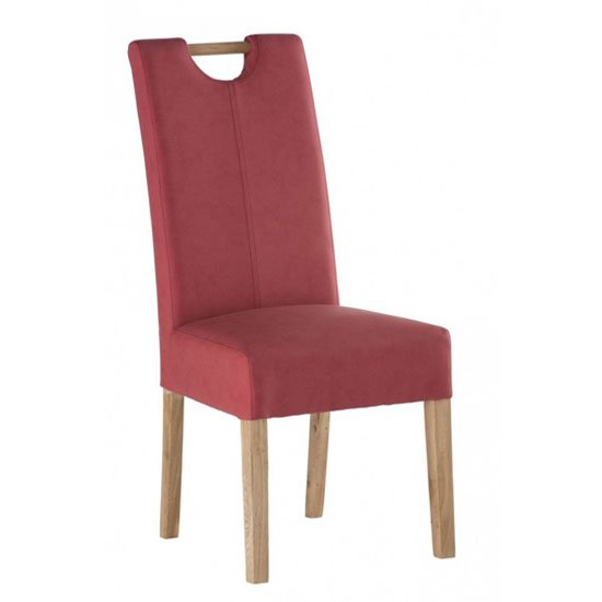 Kensington Leather Dining Chair In Soft Red With Oak Leg