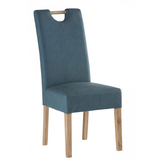 Kensington Leather Dining Chair In Teal Blue With Oak Leg