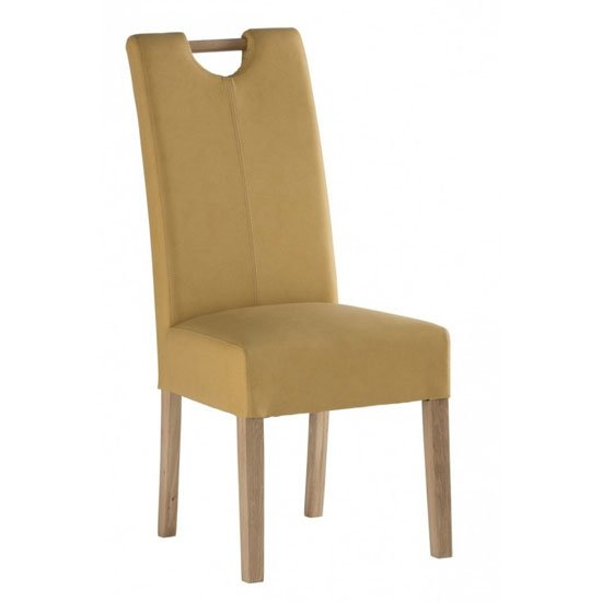 Kensington Leather Dining Chair In Yellow With Oak Leg