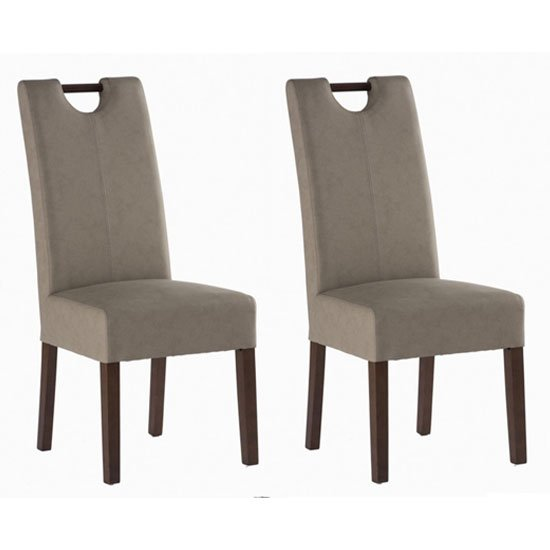 Kensington Mocha Leather Dining Chair In Pair With Dark Leg