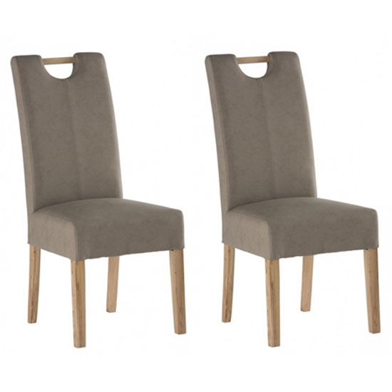 Kensington Mocha Leather Dining Chair With Oak Leg In Pair