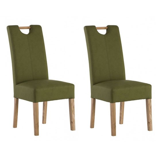 Kensington Sage Green Leather Dining Chair With Oak Leg In Pair