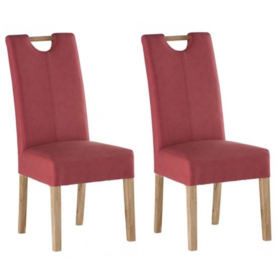 Kensington Soft Red Leather Dining Chair With Oak Leg In Pair