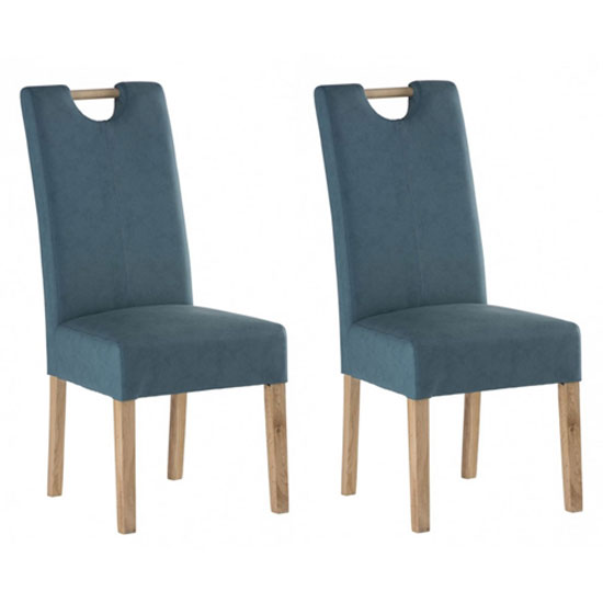 Kensington Teal Blue Leather Dining Chair With Oak Leg In Pair
