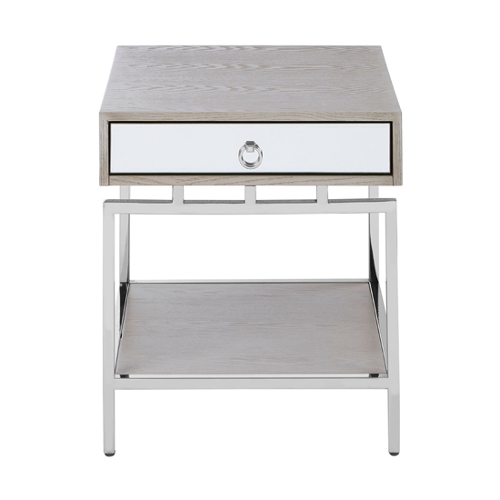 Furud Townhouse Bedside Table In Silver With 1 Drawer