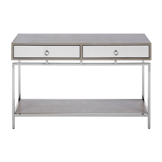 Furud Townhouse Console Table In Silver With 2 Drawers