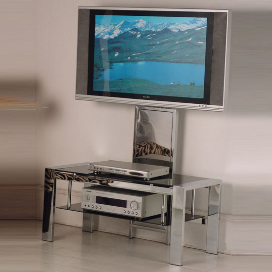 Naxis Plasma LCD TV Stand In Black Glass With Chrome