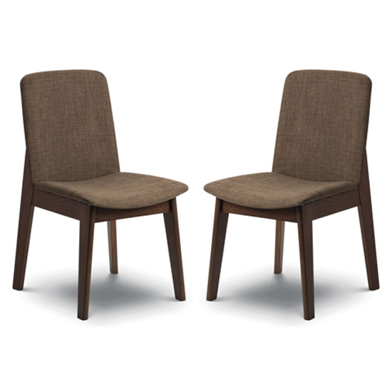 Kensington Walnut Fabric Dining Chair In Pair