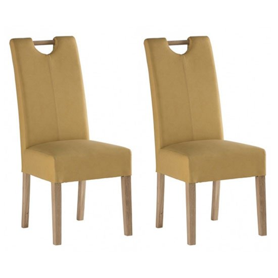 Kensington Yellow Leather Dining Chair In Pair With Oak Leg