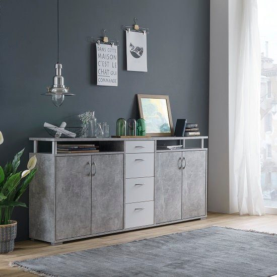Kensington Wooden Sideboard In Concrete And White_1