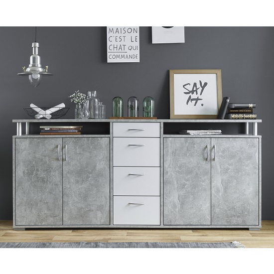 Kensington Wooden Sideboard In Concrete And White_2