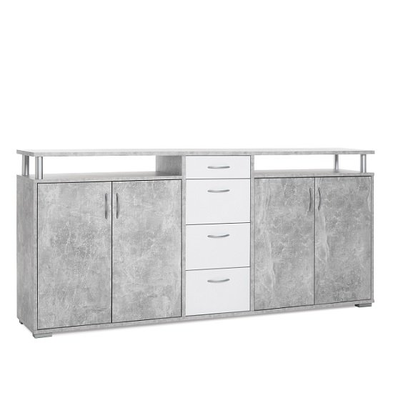 Kensington Wooden Sideboard In Concrete And White_4