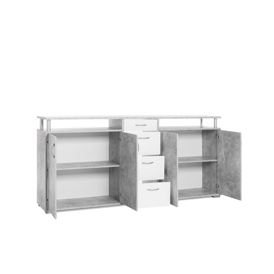 Kensington Wooden Sideboard In Concrete And White_3