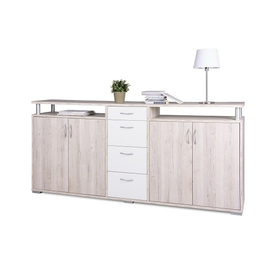 Kensington Wooden Sideboard In Sorrento Oak And White