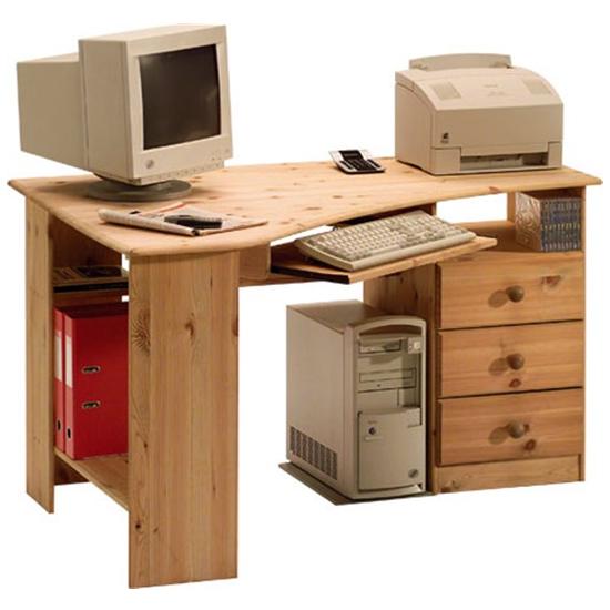 View Kent wooden corner computer desk in lyed oil
