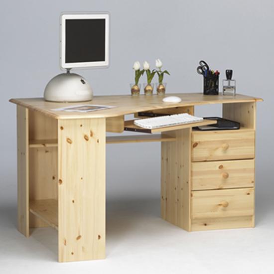 View Kent wooden corner computer desk in natural