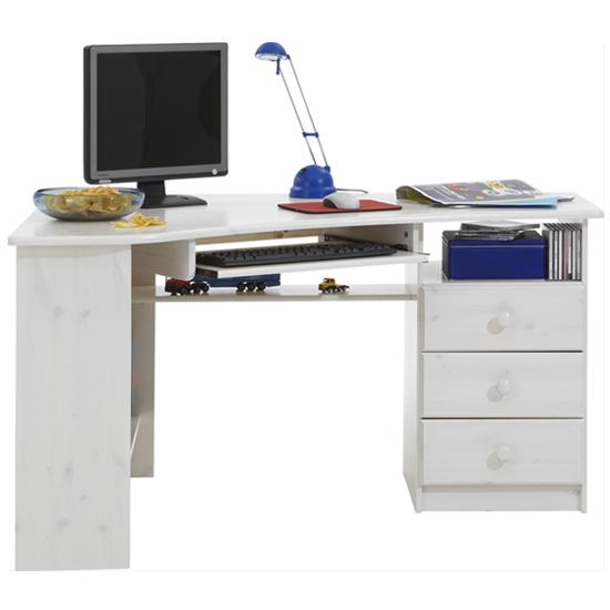 View Kent wooden corner computer desk in white wash