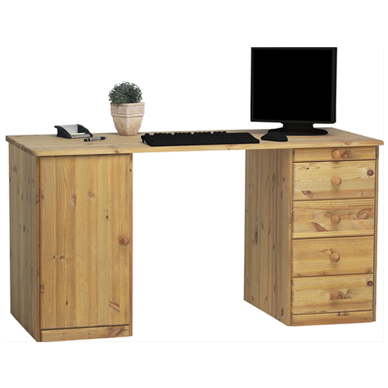 View Kent wooden laptop desk in lyed oil with 1 door and 5 drawers