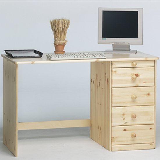 View Kent wooden laptop desk in natural with 5 drawers
