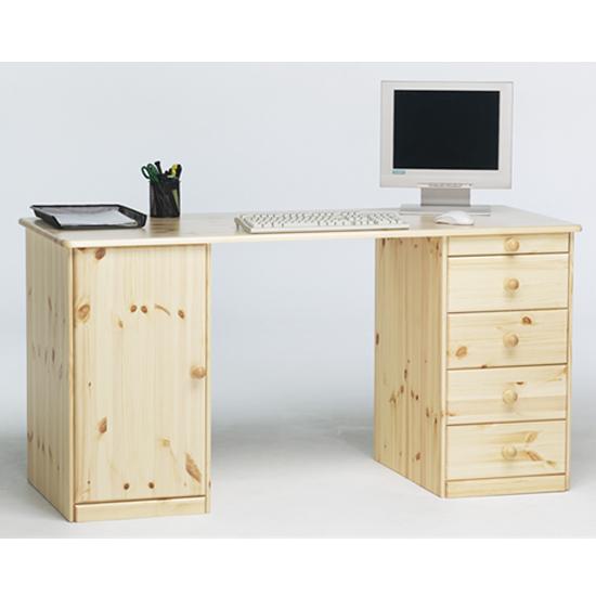 View Kent wooden laptop desk in natural with 1 door 5 drawers