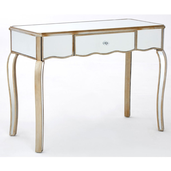 Kentaurus Mirrored Glass Dressing Table In Champagne