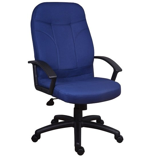 Kenton Fabric Executive Office Chair In Blue With Castors