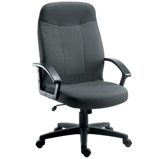 Kenton Fabric Executive Office Chair In Charcoal With Castors