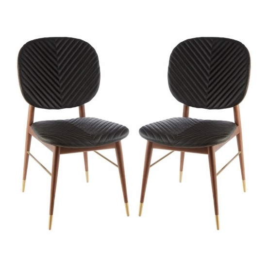 Kentona Black Faux Leather Dining Chairs In Pair