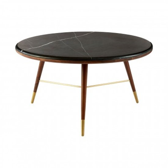 Kentona Dark Grey Marble Top Coffee Table With Walnut Legs