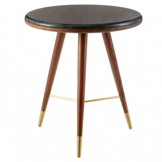 Kentona Dark Grey Marble Top End Table With Walnut Legs