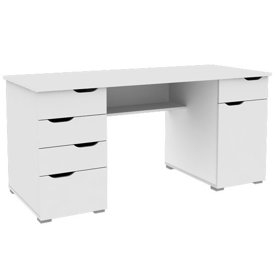 Kentucky Wooden Computer Desk In White High Gloss