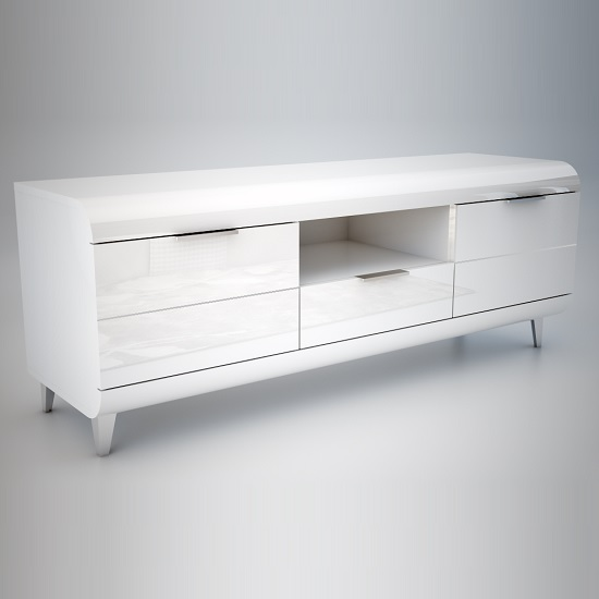 Kenia Tv Stand In White High Gloss With Wooden Legs And 2