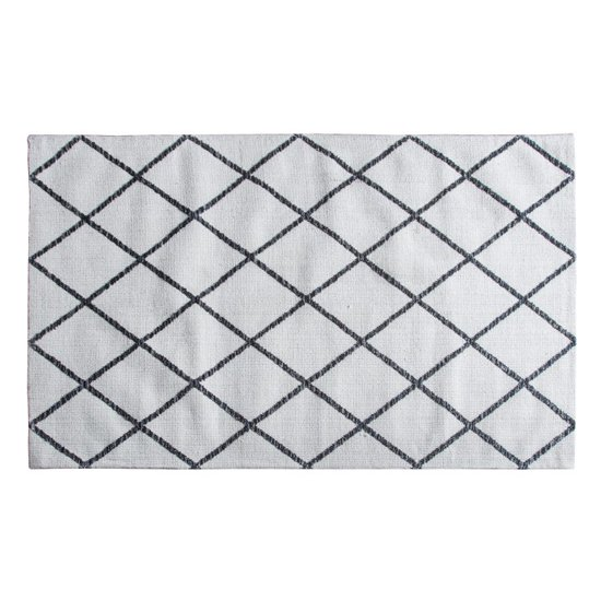 Kenza Extra Large Fabric Upholstered Rug In Cream Charcoal