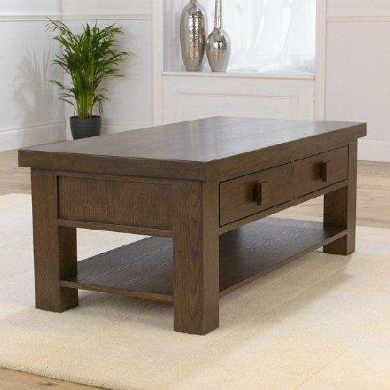 Kenzel Wooden Coffee Table In Dark Solid Oak With 2 Drawers