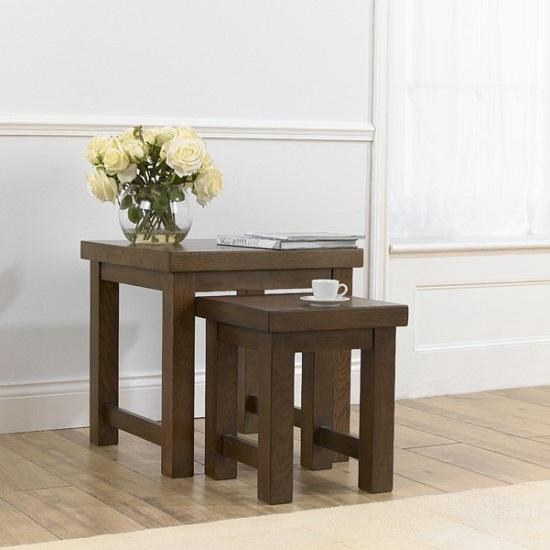 Kenzel Wooden Nest Of Tables In Dark Oak 29569 Furniture In