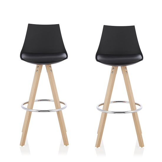 Kenzie Bar Stools In Black Faux Leather Seat Pad In A Pair