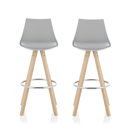 Kenzie Bar Stools In Grey Faux Leather Seat Pad In A Pair
