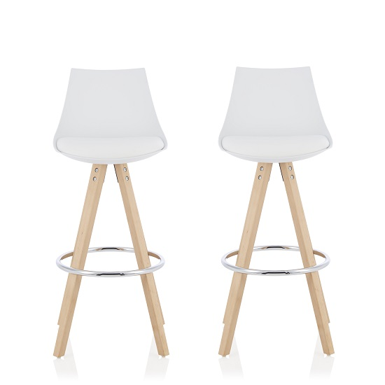 Kenzie Bar Stools In White Faux Leather Seat Pad In A Pair
