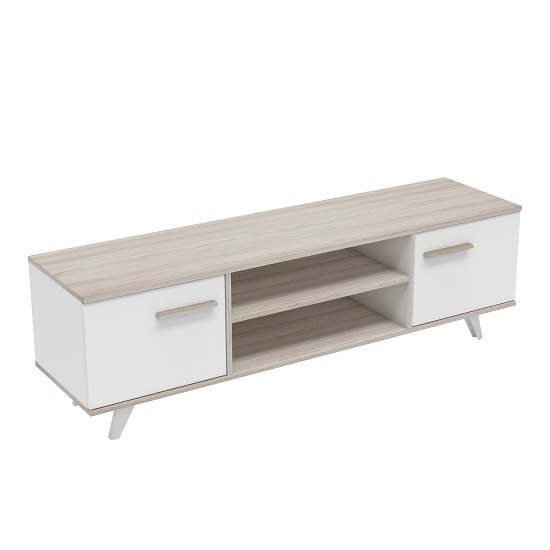 Kenzie Wooden TV Stand In Shannon Oak And Pearl White