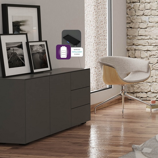 Nexus Wooden Sideboard In Matt Grey With Two Doors