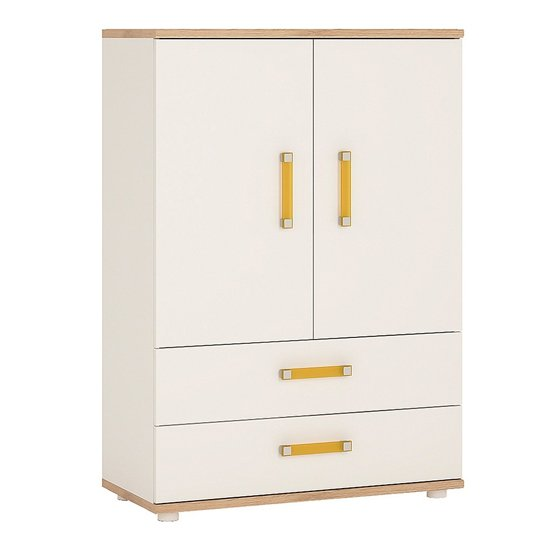Kepo Wooden 2 Door Storage Cabinet In White High Gloss And Oak