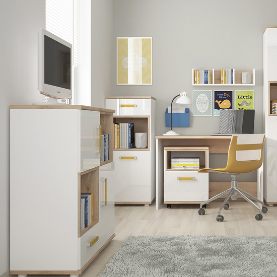 Kepo Wooden Open Storage Cabinet In White High Gloss And Oak_4