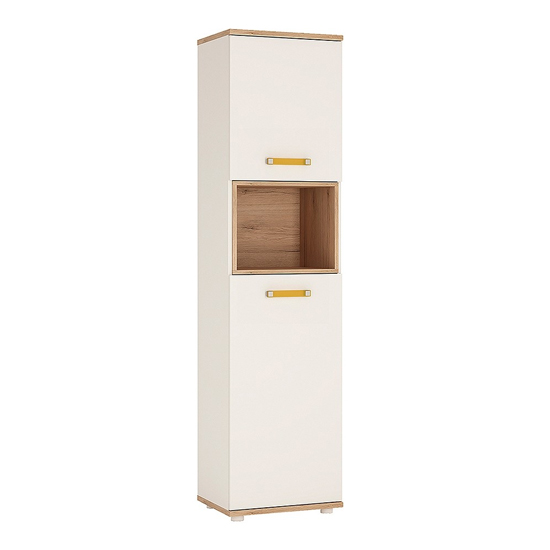 Kepo Wooden Storage Cabinet In White Gloss And Oak With 2 Doors