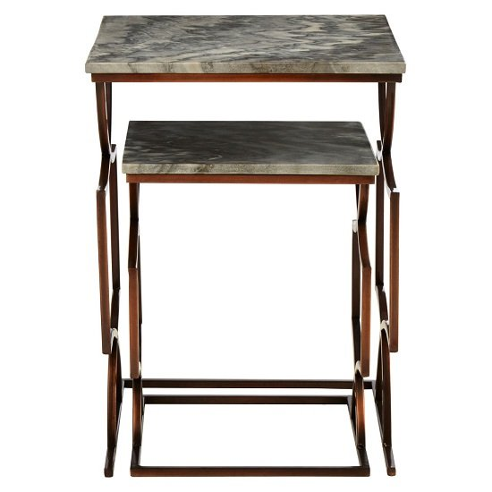 Kerfoot Dark Grey Marble Nest Of Tables With Bronze Metal Base_5