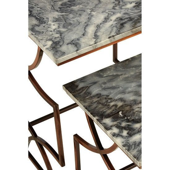 Kerfoot Dark Grey Marble Nest Of Tables With Bronze Metal Base_3