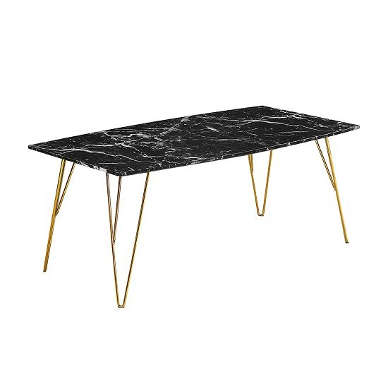 View Kerlin coffee table in black marble effect with metal base