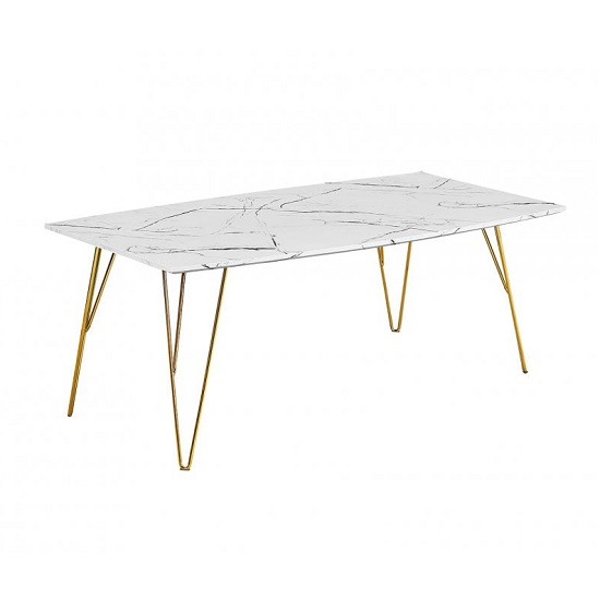 Kerlin Coffee Table In White Marble Effect With Metal Base