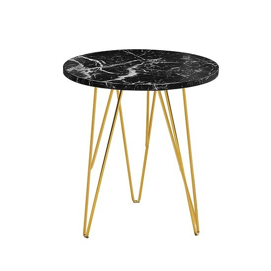 Kerlin Round Lamp Table In Black Marble Effect With Metal Base